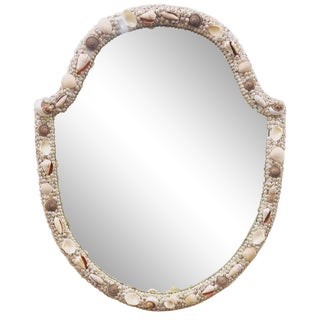 Vintage Folk Art Seashell Mirror For Sale