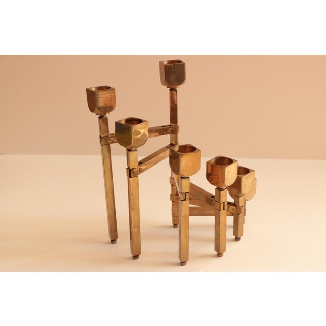 Articulated Brass Candleholder For Sale In Madison - Image 6 of 9