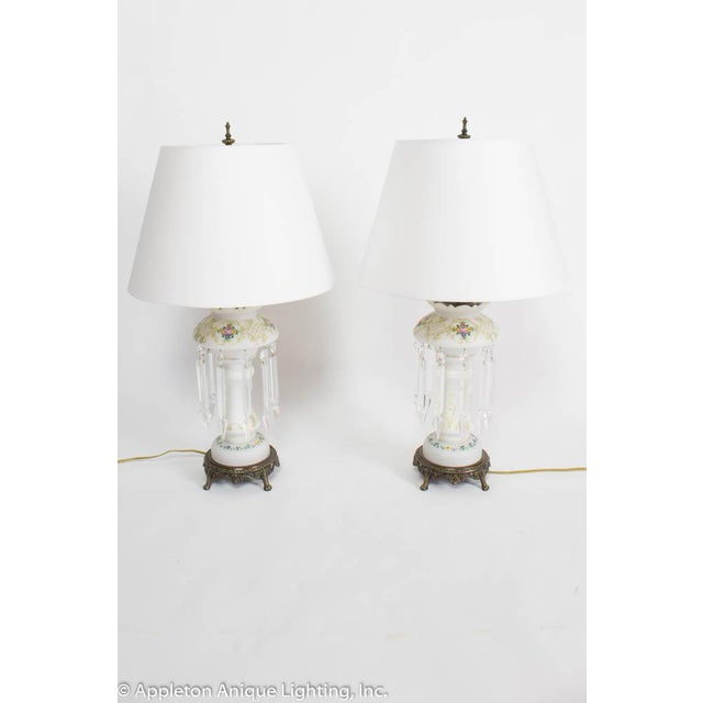 Late 19th Century 19th Century Victorian Electrified Lustre Lamps - a Pair For Sale - Image 5 of 5