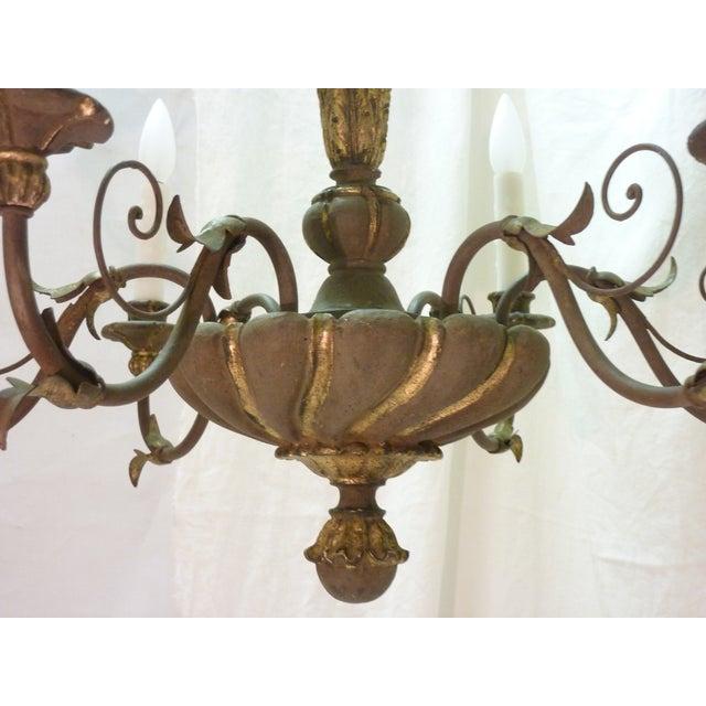 Italian Painted Iron & Wood Chandelier - Image 5 of 8