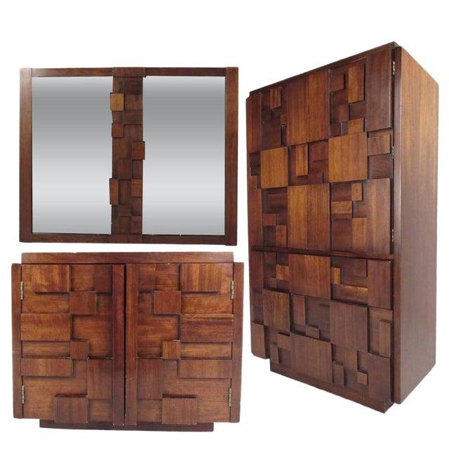 Vintage Modern Brutalist Bedroom Set by Lane Furniture For Sale