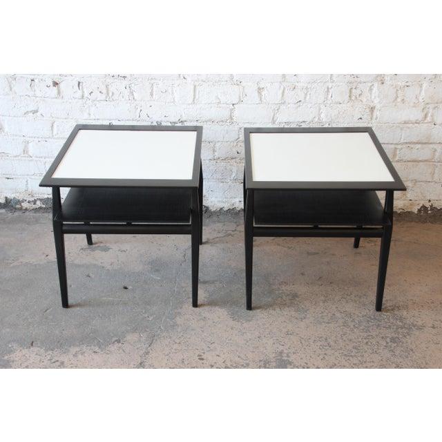 M. Singer & Sons Bertha Schaefer for Singer & Sons Ebonized Mid-Century Modern End Tables- A Pair For Sale - Image 4 of 13