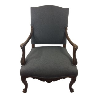 French Regency Style Walnut Armchair For Sale