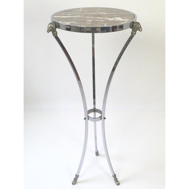 Mid Century, Neoclassical, Regency Style, Italian made steel & marble pedestal table, designed by Maison Jansen. Modernist...