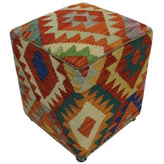 Boho Chic Hutchins Rust/Grey Handmade Kilim Upholstered Ottoman For Sale