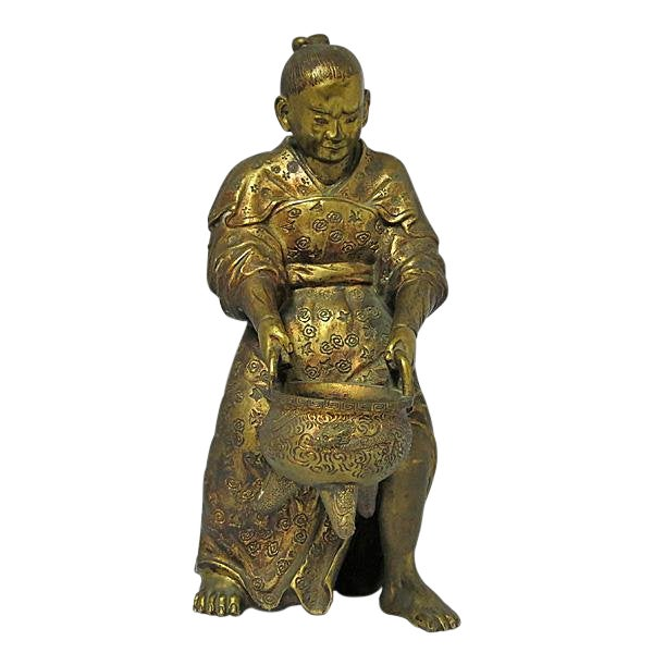 Late 19th Century Vintage Japanese Meiji Period Gilt Bronze Figure For Sale