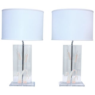 1970s Italian Lucite Table Lamps For Sale