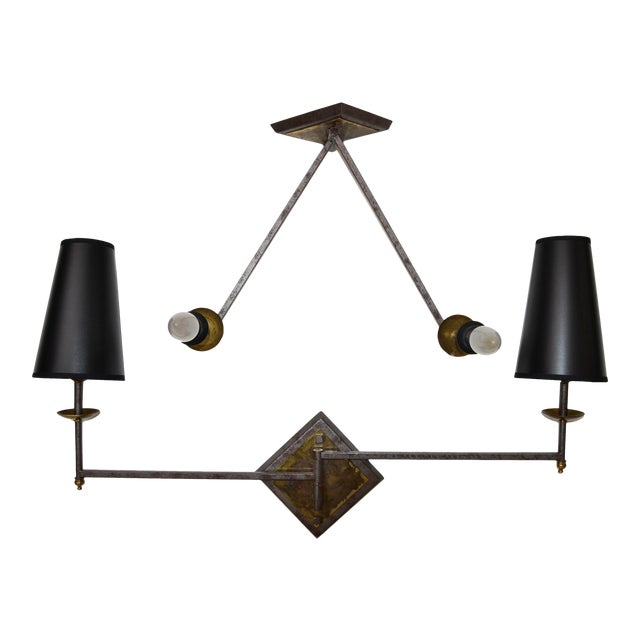 French Mid-Century Modern Metal & Brass Swing Arm Sconces, Wall Lights - Pair For Sale
