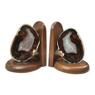 1960s Organic Modern Agate and Myrtlewood Bookends - a Pair For Sale