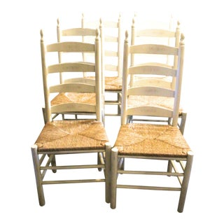 Late 20th Century Vintage Ladder Back Chairs- Set of 6 For Sale