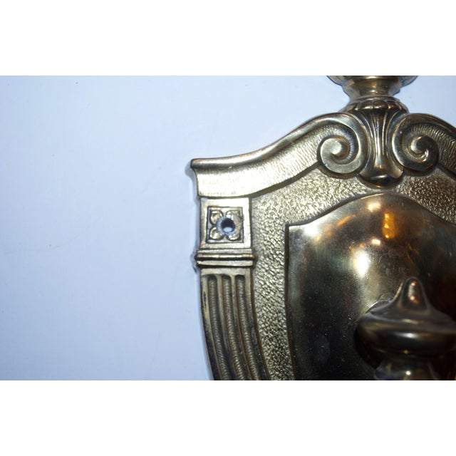 Traditional Cast Brass Sconces - A Pair For Sale - Image 3 of 4