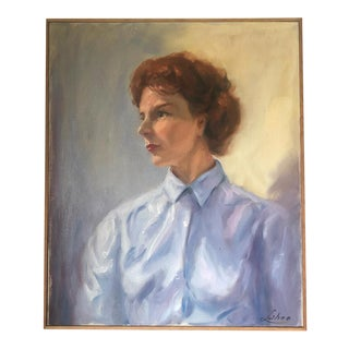 Mid Century Oil Portrait Painting on Canvas of Woman in Blue For Sale