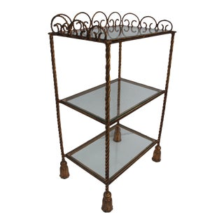 Italian Gold Rope & Tassel Etagere For Sale