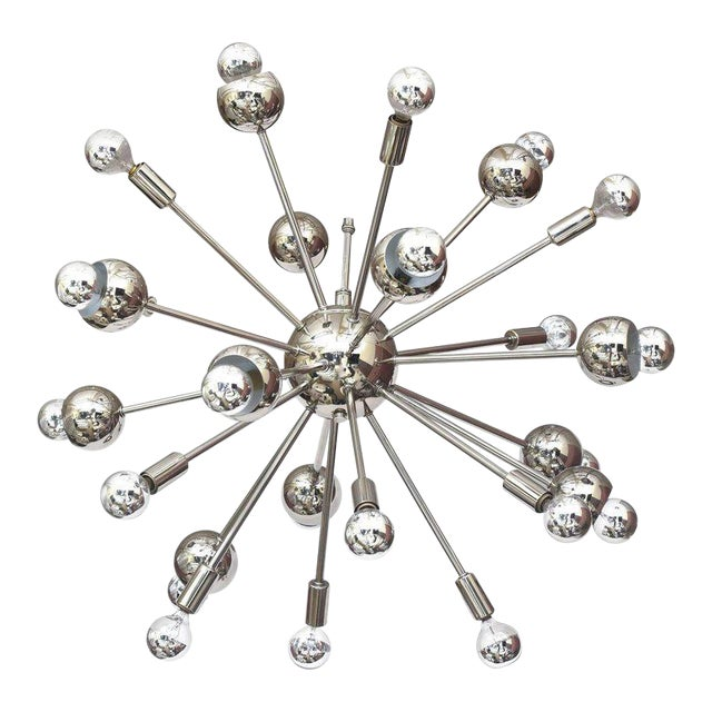 Nickel Silver 24 Bulb Sputnik Vintage Chandelier For Sale