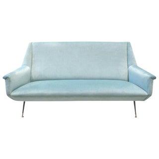 1950s Italian Marco Zanuso Style Velvet Sofa For Sale