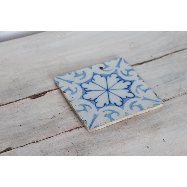 Rustic European 19th Century Portuguese Tin-Glazed Pottery Tile For Sale - Image 3 of 10