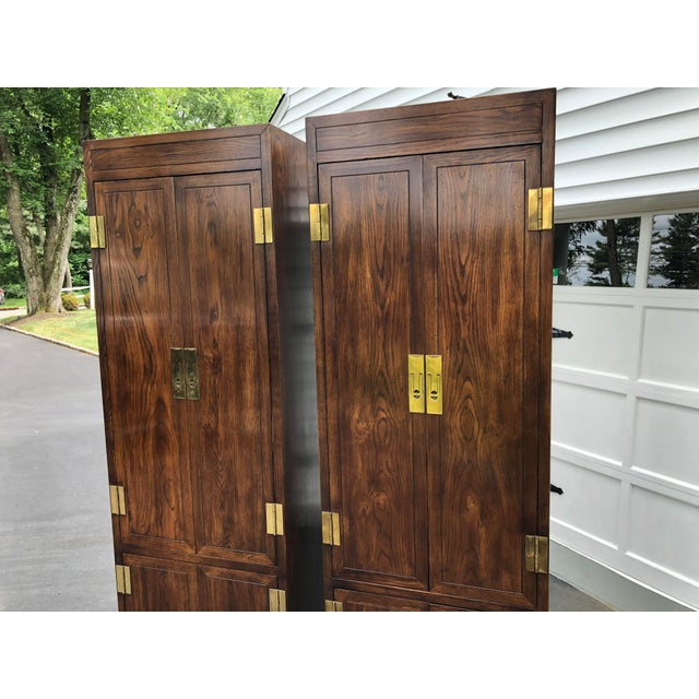 Brown Henredon Scene One Campaign Style Armoire Cabinets 1980s - a Pair For Sale - Image 8 of 12
