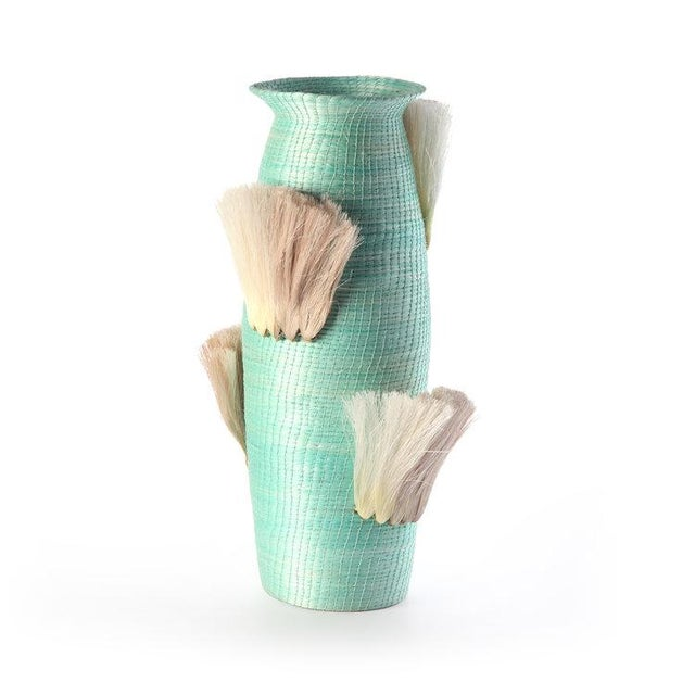 Boho Chic Fanned Out Large Tall Vase Turquoise & Flax Fans For Sale - Image 3 of 3