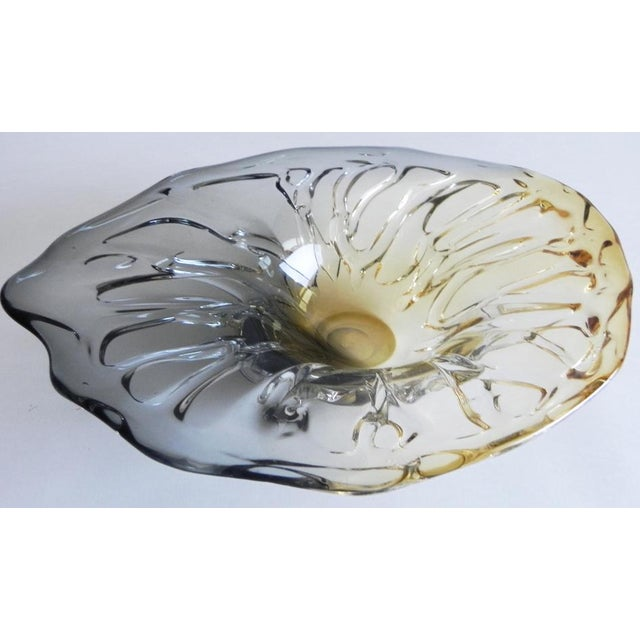 Glass Boho Chic Glass Leaf Shape Bowl For Sale - Image 7 of 7