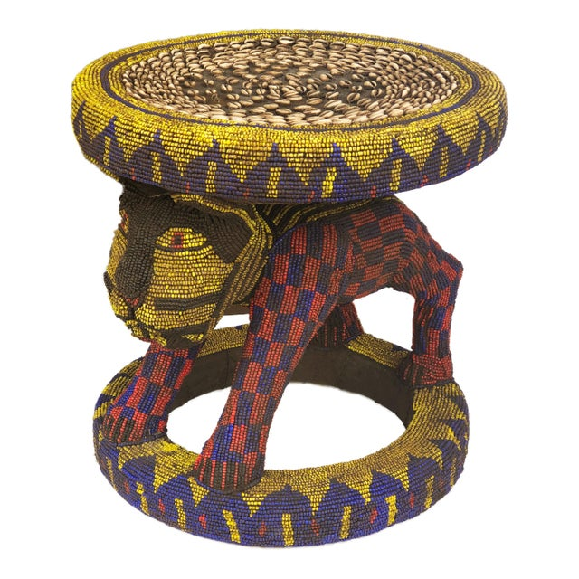 """African Old Lg African Beaded Wood Bamileke Stool /Table Cameroon 18.5'""""h For Sale - Image 3 of 10"""