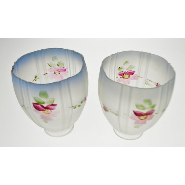 Victorian Handpainted Frosted Glass Light Shades - a Pair For Sale - Image 4 of 12