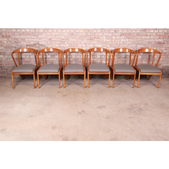 Mid-Century Modern Baker Furniture Mid-Century Modern Sculpted Solid Maple Dining Chairs, Set of Six For Sale - Image 3 of 13