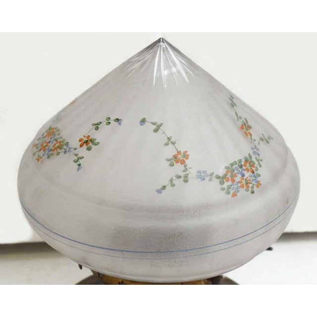 Traditional Floral Glass Shade With Brass Fixture & Star Detail For Sale - Image 3 of 11