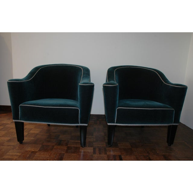 A beautiful pair of Forest Green Josef Hoffmann chairs made by Wittmann and purchased through him. C 1972.