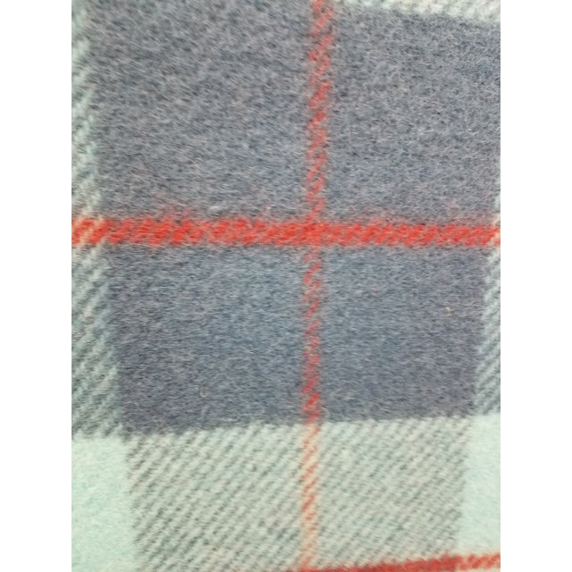 Wool Throw Blue, Aqua and Red in Different Sized Stripes - Made in England For Sale - Image 10 of 11