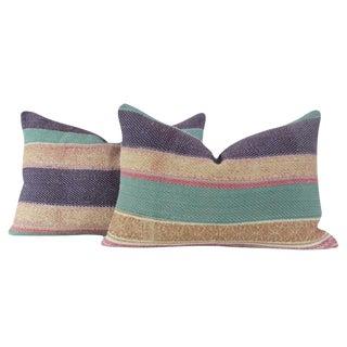 Multi-Striped Bengal Kantha Lumbar Pillows - a Pair