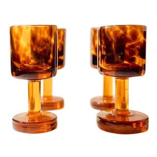 Vintage Handmade Amber Tortoise Shell Iced Tea Glasses For Sale