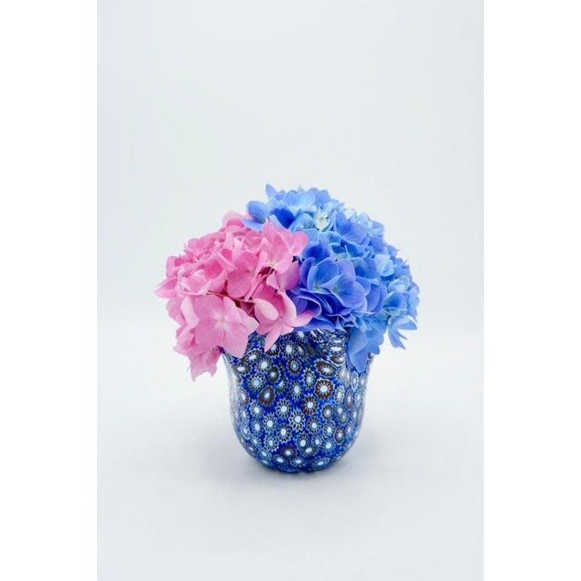Murano Vintage Blue Murano Millefiori Handkerchief Vase For Sale - Image 4 of 13