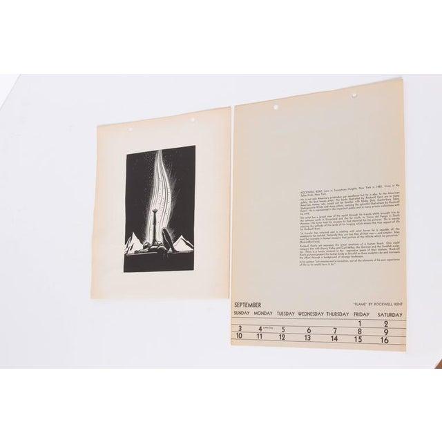"""Art Deco 1939 Rockwell Kent """"Flame"""" Original Block Print Calendar For Sale In Dallas - Image 6 of 11"""