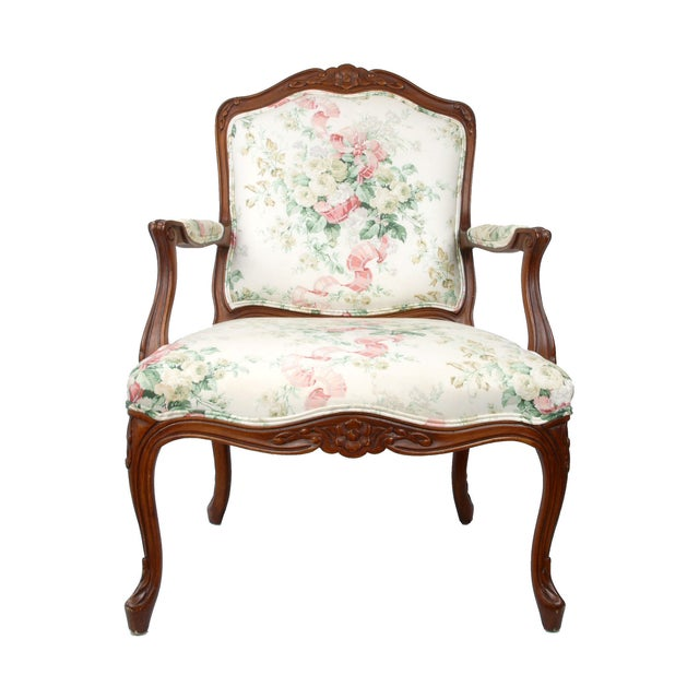 Hollywood Regency-Style Wood Arm Chair - Image 1 of 10