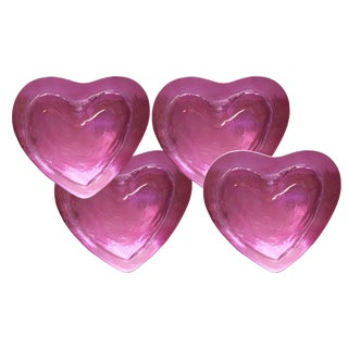 Annieglass Transparent Red Heart Shaped Dish Plates - Set of 4 For Sale