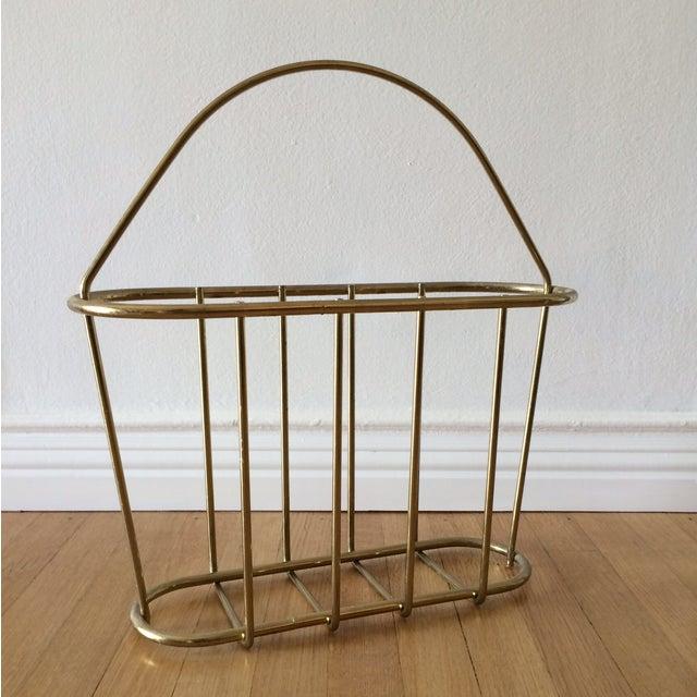 Mid-Century Modern Brass Magazine Rack - Image 2 of 4