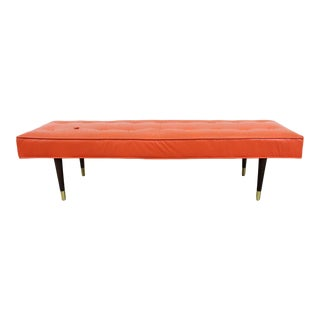 Mid-Century Modern Atomic Orange Tufted Bench For Sale