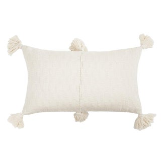 Boho Chic Antigua Natural White Tassel Pillow