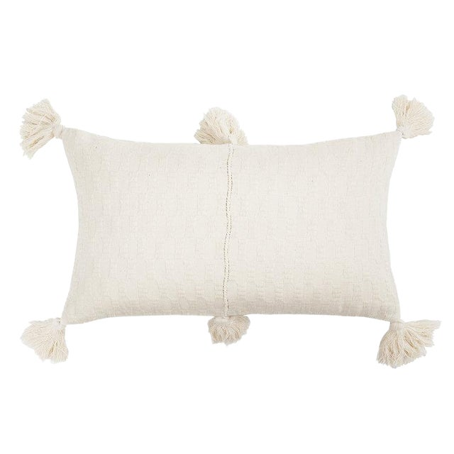 Boho Chic Antigua Natural White Tassel Pillow For Sale