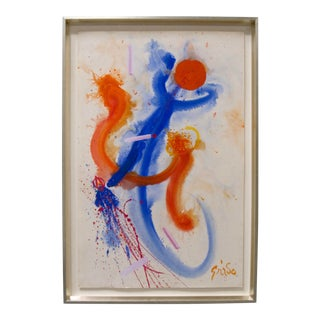 Hendrik Grise Masterwork Original Acrylic on Paper Signed Abstract Painting For Sale