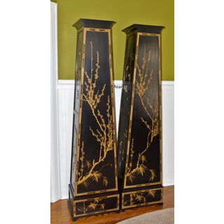 1960s Chinoiserie Ebonized Pyramid Cabinets With Stone Appliques - a Pair Preview
