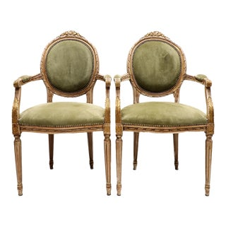 1980s Louis XVI Style Arm Chairs - a Pair For Sale
