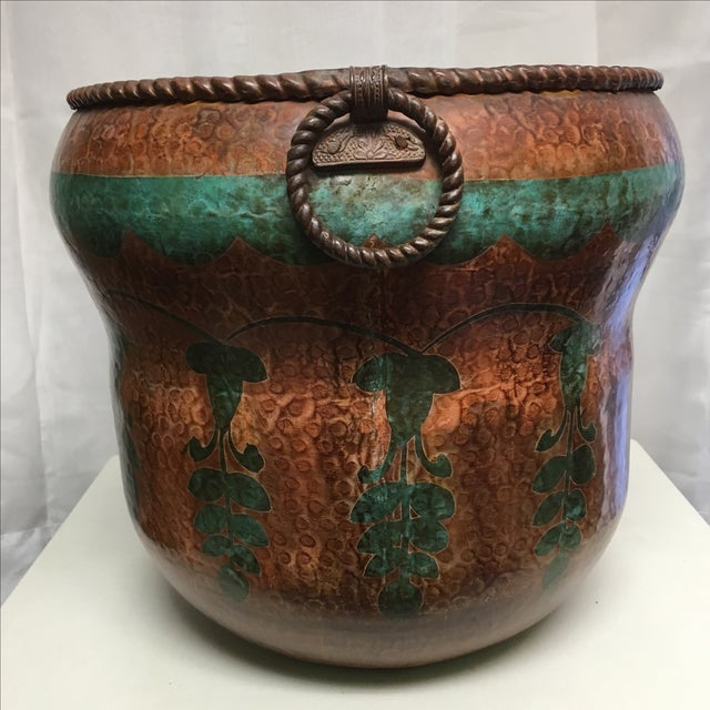 Copper planter with a green patina and aged copper. The perfect pot for an indoor fern or any other leafy green.