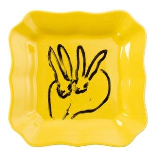 Hunt Slonem Yellow Bunny Portrait Plates - Set of 2