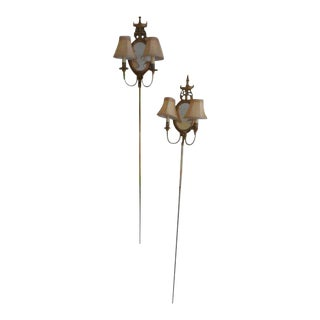 Adams Friedman Style Mirror Brass Sconces - a Pair For Sale