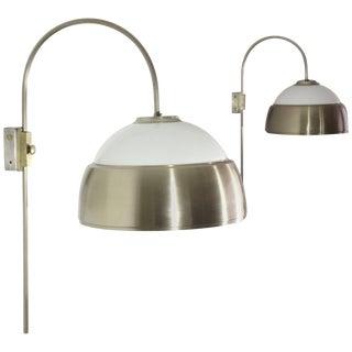 Italian Mid-Century Adjustable Chrome Wall Lights, 1960's - A Pair For Sale