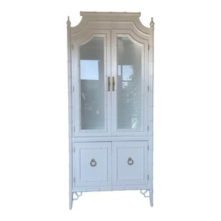 Vintage Thomasville Chinoiserie Style Faux Bamboo Cabinet For Sale