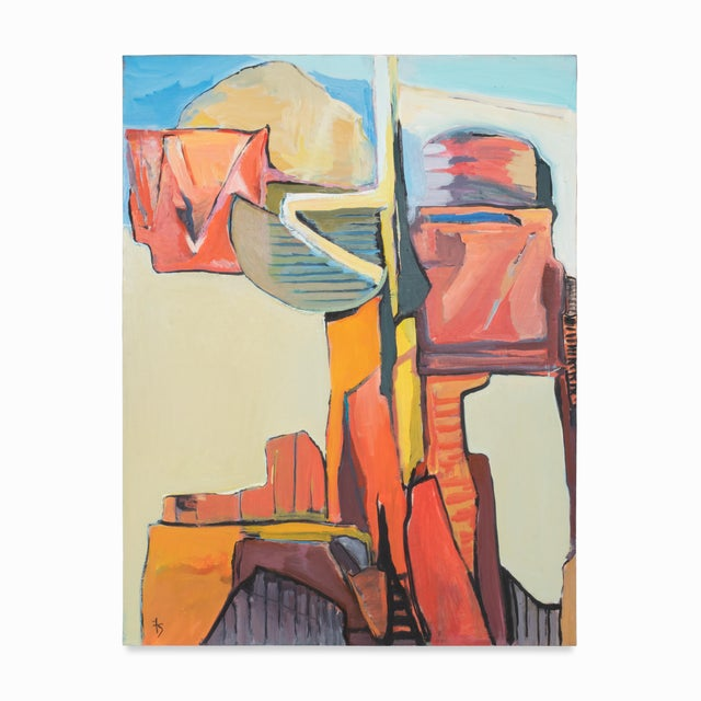 """1980s 1989 """"Monument"""" Abstract Painting by Fay Singer For Sale - Image 5 of 5"""