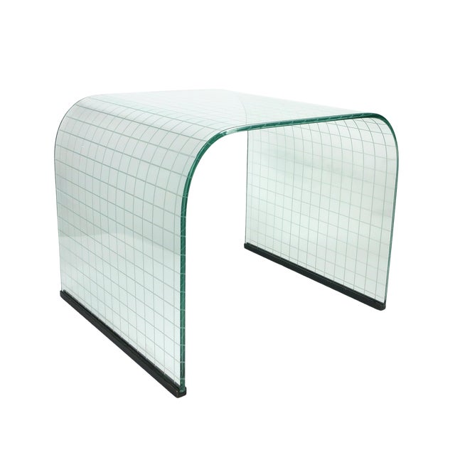 Etched Glass Waterfall Table by Angelo Cortesi for Fiam For Sale