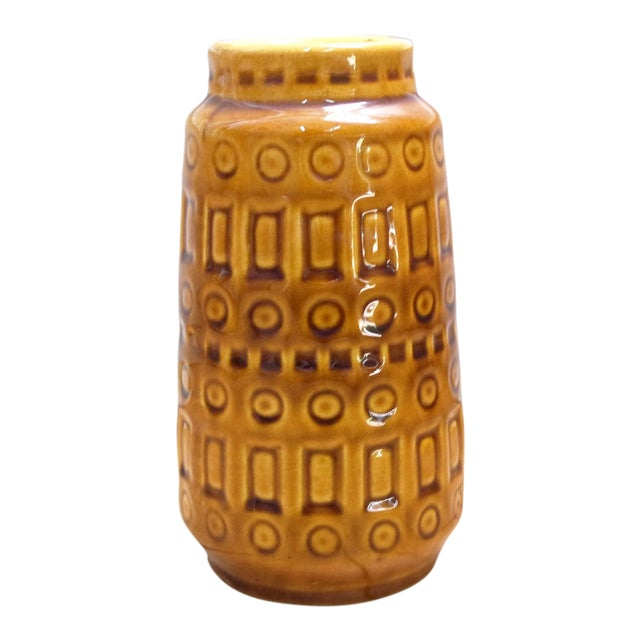 1960s Mid-Century West German Scheurich Keramik Inka Mustard Ceramic Vase For Sale